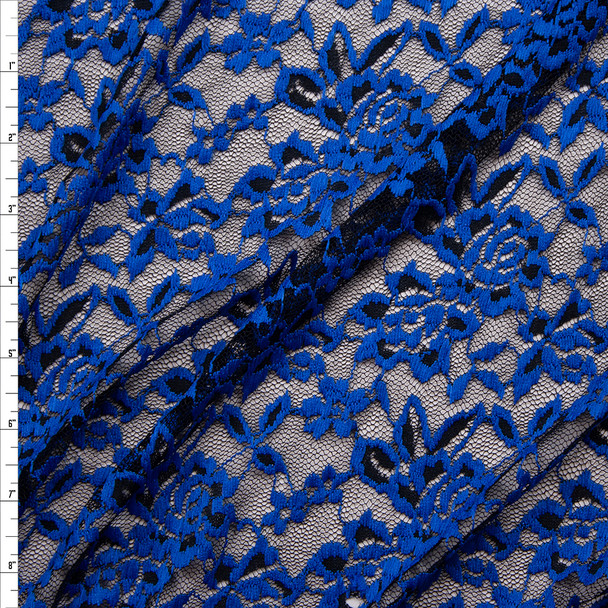 Royal Blue on Black Floral Lace Fabric By The Yard