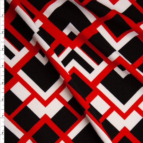 Red, Black, and White Geometric Crepe Look Liverpool Knit Fabric By The Yard