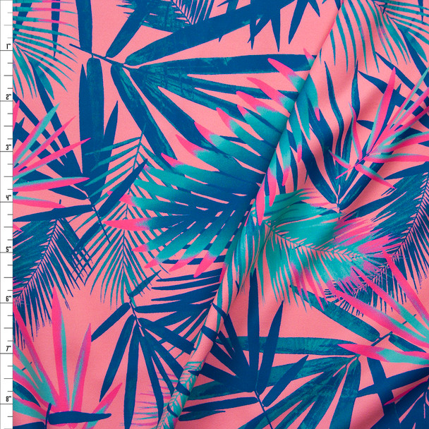 Mint, Teal, and Neon Pink Tropical Leaves on Pink Stretch Nylon/Lycra Knit Fabric By The Yard