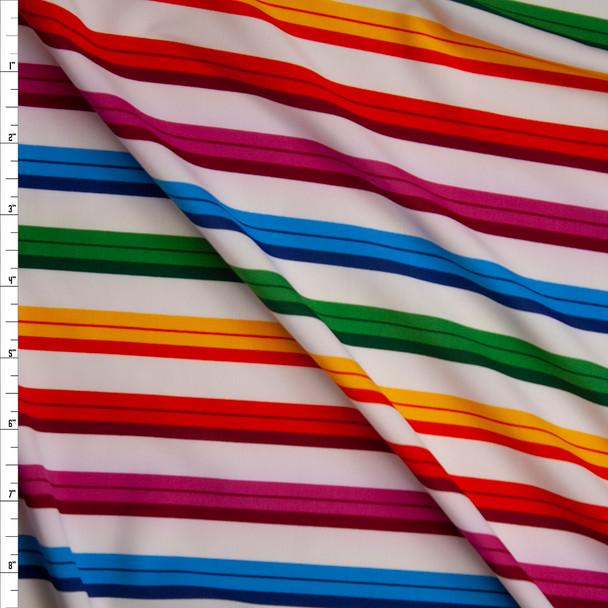 Rainbow Stripe on White Stretch Nylon/Lycra Knit Fabric By The Yard