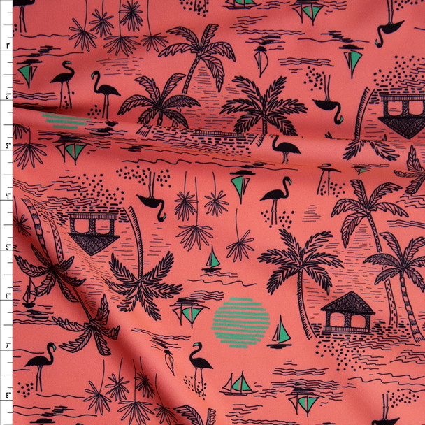 Black and Olive Beach Hut on Bright Peach Stretch Nylon/Lycra Knit Fabric By The Yard