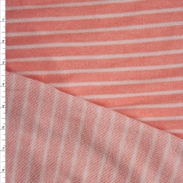Heather Coral and White Horizontal Stripe French Terry Fabric By The Yard