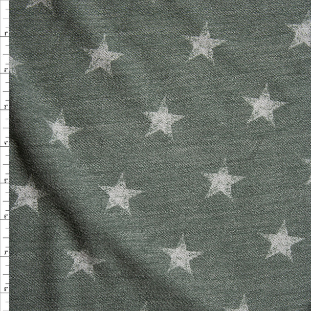Grey Grunge Stars on Olive Loop Printed French Terry Fabric By The Yard