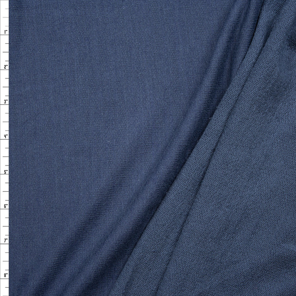 Navy Slubbed Rayon Cotton French Terry Fabric By The Yard