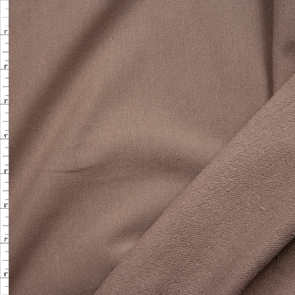 Taupe Stretch Cotton French Terry Fabric By The Yard