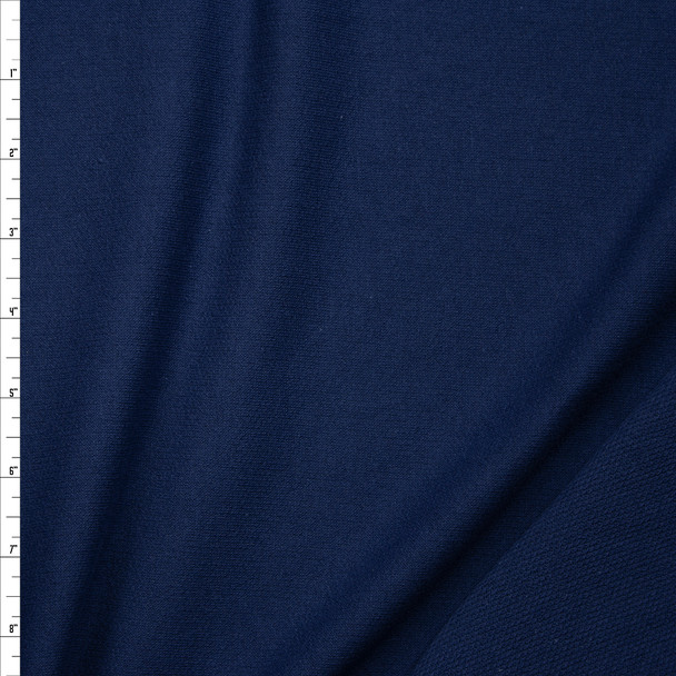 Dark Ocean Lightweight Cotton French Terry Fabric By The Yard