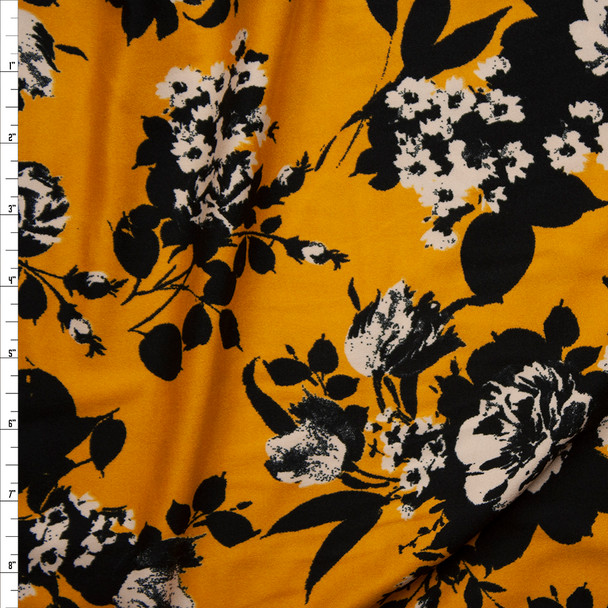 Black and Offwhite Floral on Mustard Double Brushed Poly/Spandex Knit Fabric By The Yard