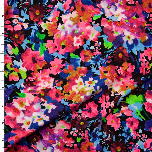 Neon Floral on Black Double Brushed Poly/Spandex Knit Fabric By The Yard