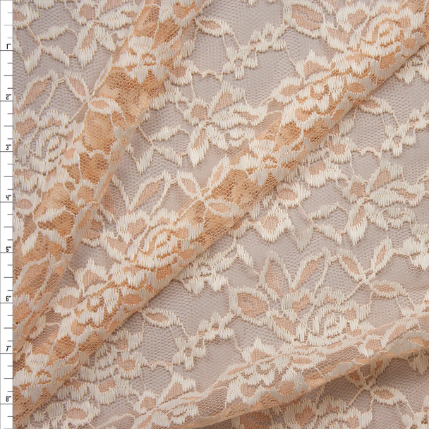 Ivory on Peach Floral Lace Fabric By The Yard