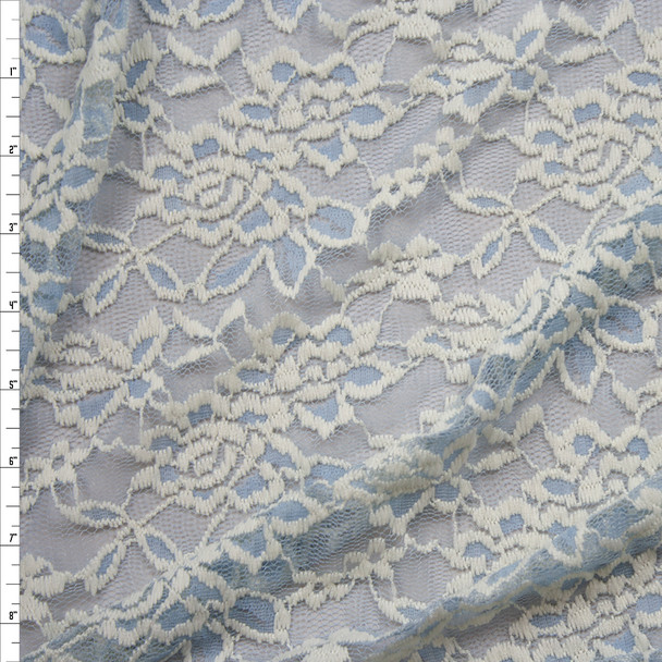Offwhite Floral on Light Blue Lace Fabric By The Yard