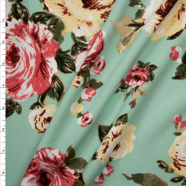 Pink and Ivory Floral on Mint Crepe Textured Liverpool Knit Fabric By The Yard