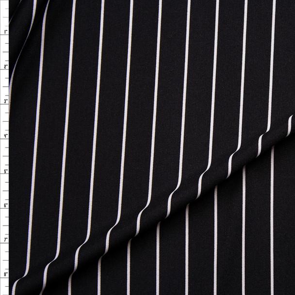 White on Black Horizontal Stripe Ponte De Roma Fabric By The Yard