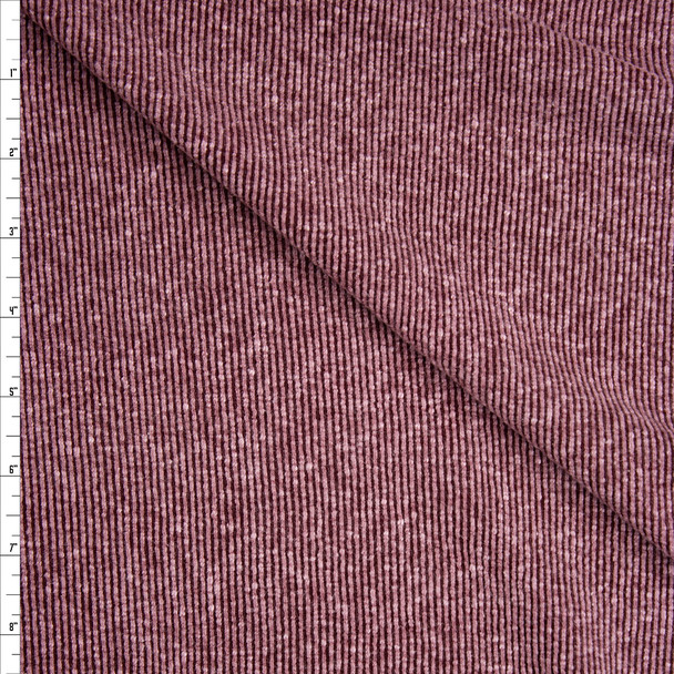 Dusty Burgundy Slubbed Ribbed Knit Fabric By The Yard