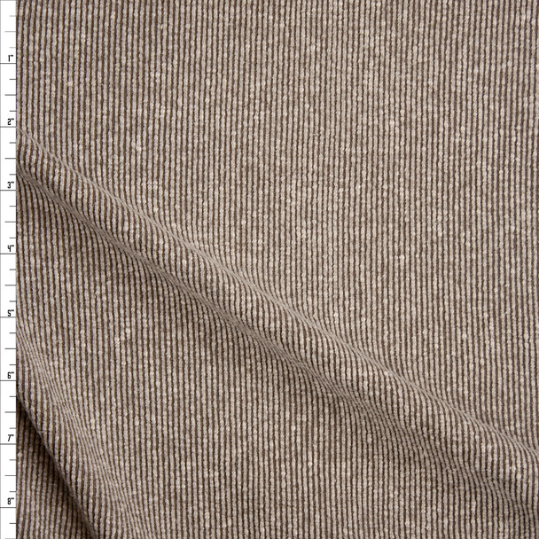 Dusty Olive Green Slubbed Ribbed Knit Fabric By The Yard
