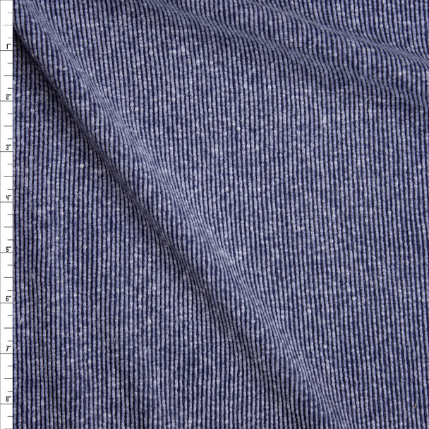 Dusty Navy Blue Slubbed Ribbed Knit Fabric By The Yard