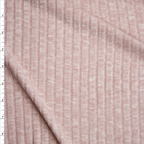 Blush Heather Brushed Wide Rib Sweater Knit Fabric By The Yard