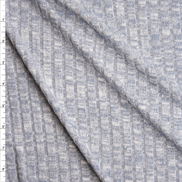 Powder Blue Heather Brushed Wide Rib Sweater Knit Fabric By The Yard