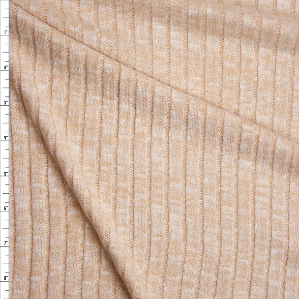 Soft Tan Brushed Wide Rib Sweater Knit Fabric By The Yard