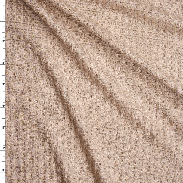 Light Tan Soft Waffle Knit Fabric By The Yard