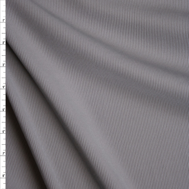 Grey Heavy Stretch Ribbed Knit Fabric By The Yard