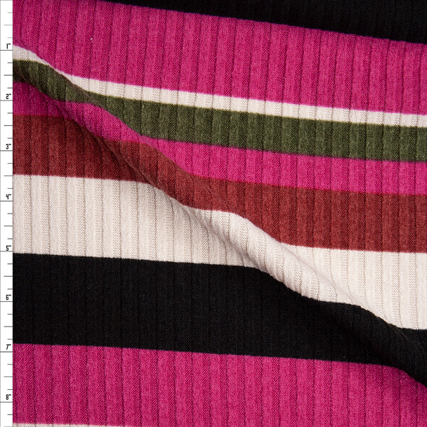 Hot Pink, Black, Offwhite, Olive, and Brick Red Barcode Stripe Wide Rib Sweater Knit Fabric By The Yard