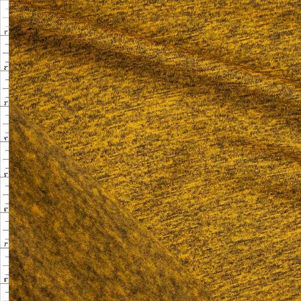 Mustard Heather Soft Brushed Stretch Sweater Knit Fabric By The Yard
