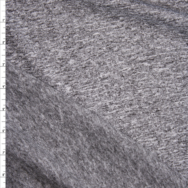 Grey Heather Soft Brushed Stretch Sweater Knit Fabric By The Yard