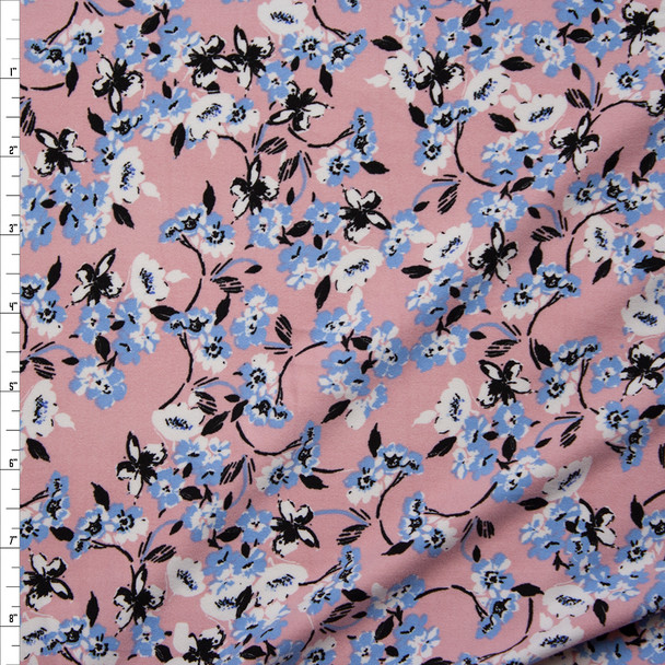Periwinkle, White, and Black Floral Vine on Blush Double Brushed Poly/Spandex Fabric By The Yard