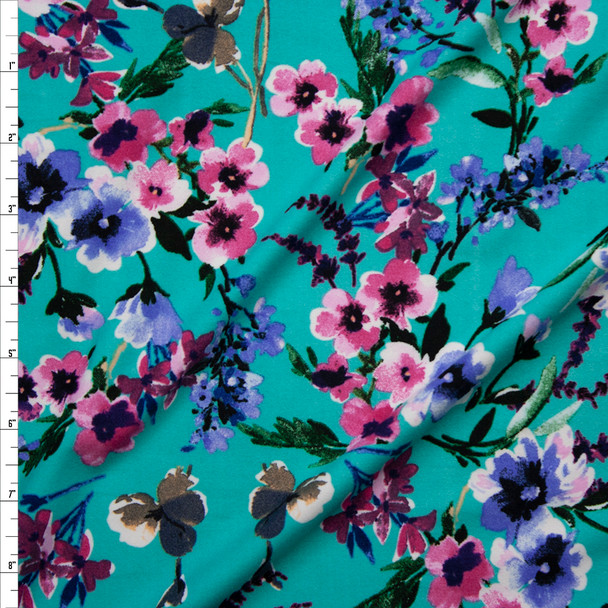 Pink, Periwinkle, and Green Watercolor Floral on Seafoam Double Brushed Poly/Spandex Fabric By The Yard