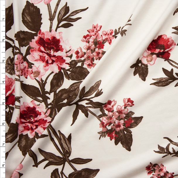 Wine, Pink, and Brown Floral on Ivory Double Brushed Poly/Spandex Fabric By The Yard