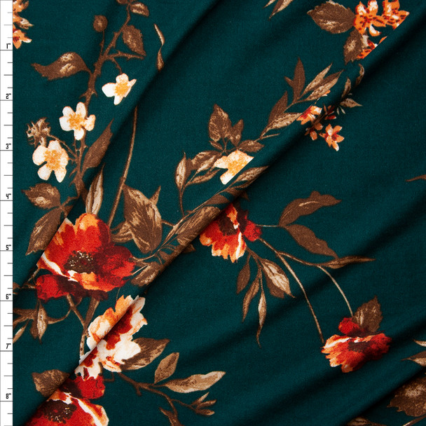 Rust, Peach, and Brown Floral on Emerald Green Double Brushed Poly/Spandex Fabric By The Yard