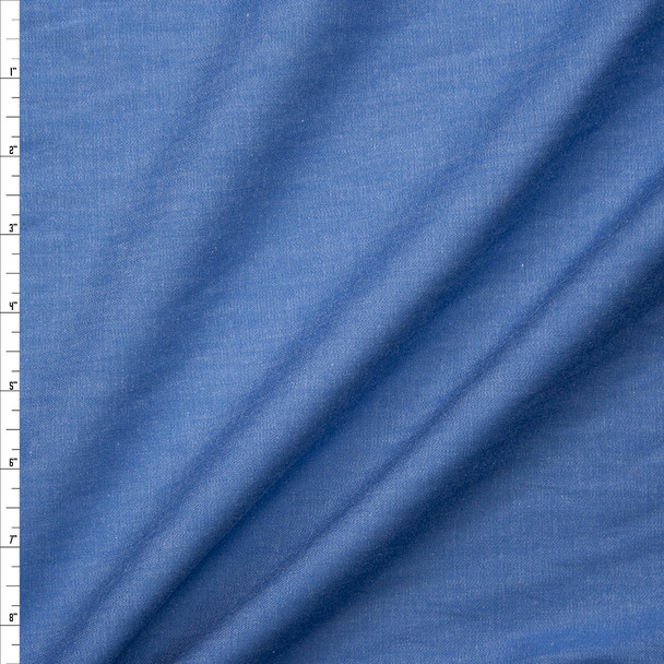 Medium Blue Midweight Cotton Chambray Fabric By The Yard