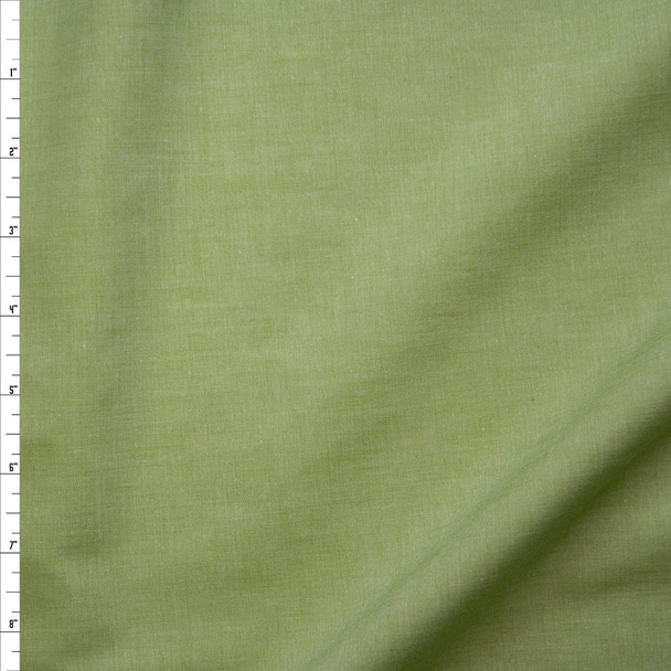 Avocado Green Lightweight Cotton Chambray Fabric By The Yard