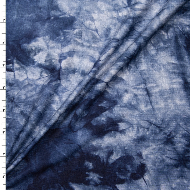 Navy, Slate, and Grey Tie Dye Stretch Rayon Jersey Knit Fabric By The Yard