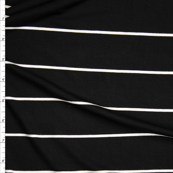 White on Black Horizontal Stripe Stretch Modal Jersey Knit Fabric By The Yard