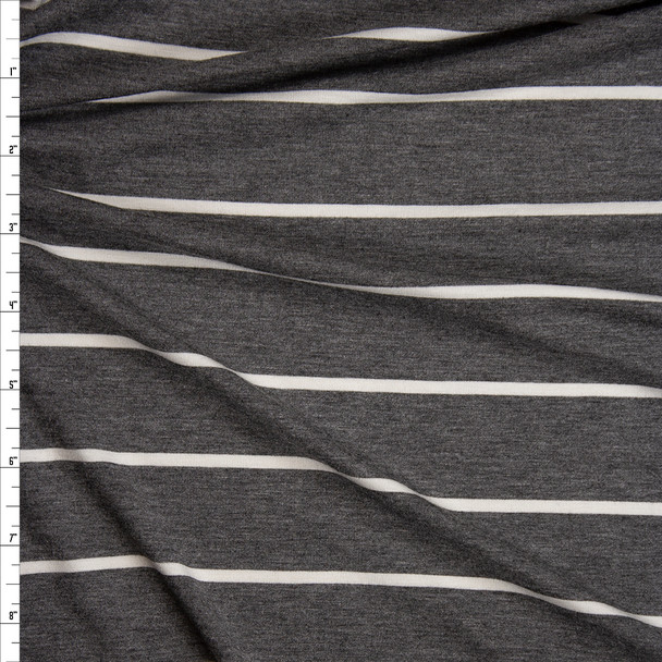 White on Heather Charcoal Horizontal Stripe Stretch Modal Jersey Knit Fabric By The Yard