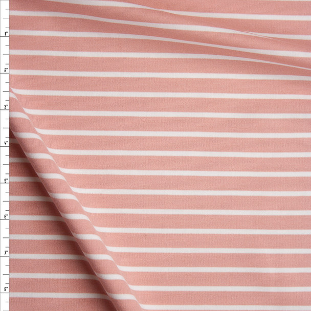 White and Blush Stripes Stretch Ponte De Roma Fabric By The Yard