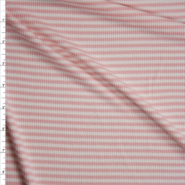 Pink and White Horizontal Stripe Micro Waffle Knit Fabric By The Yard