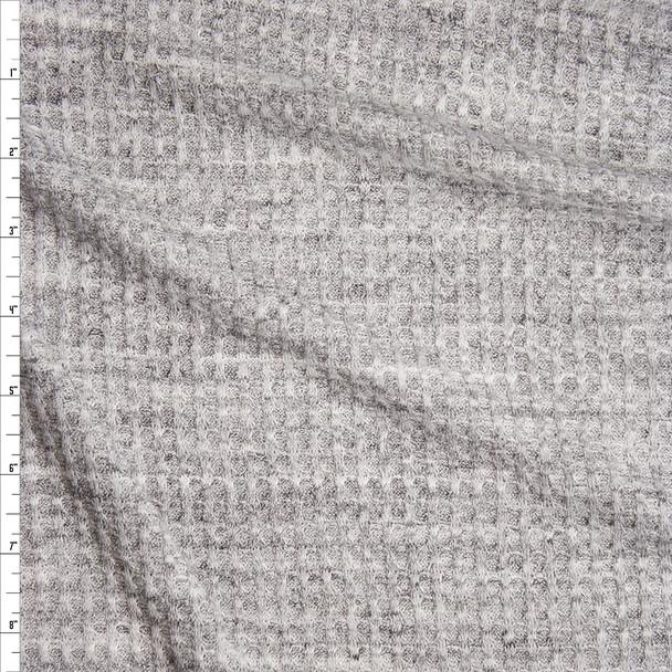 Light Grey Heather Soft Waffle Knit Fabric By The Yard