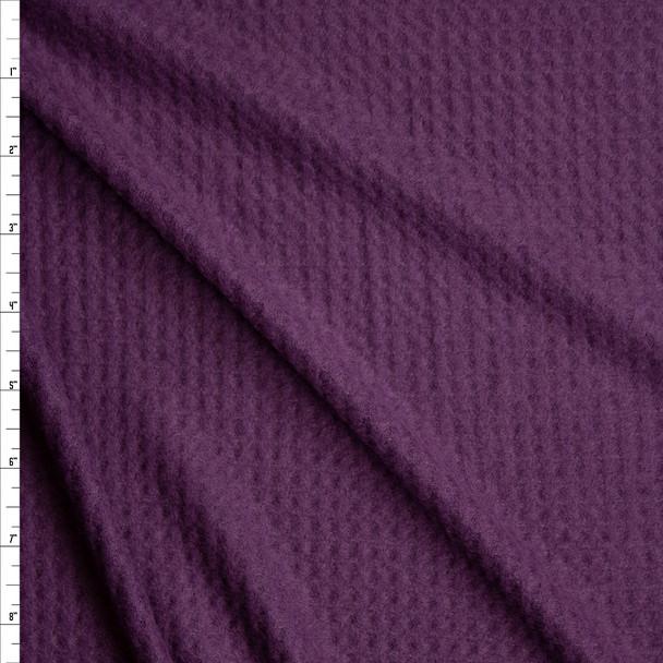 Plum Brushed Soft Waffle Knit Fabric By The Yard