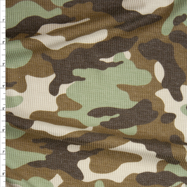 Brown, Sage, and Ivory Camouflage Waffle Knit Fabric By The Yard