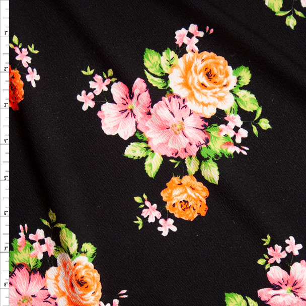 Neon Pink, Orange, and Green Floral on Black Crepe Liverpool Knit Fabric By The Yard