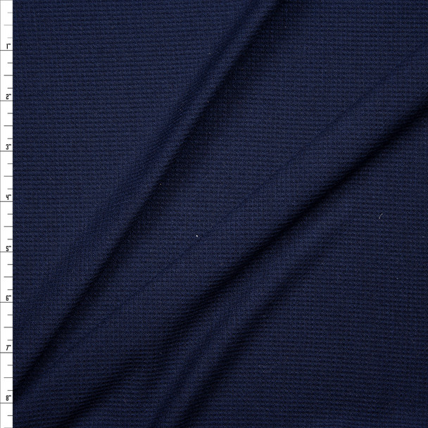 Navy Blue Rayon Micro Waffle Knit Fabric By The Yard