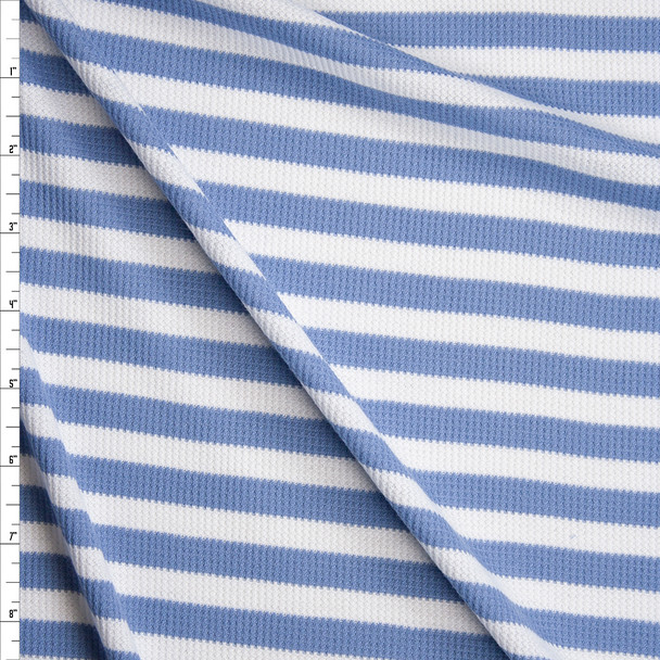 Light Blue and White Stripes Micro Waffle Knit Fabric By The Yard