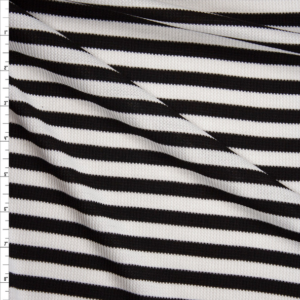 Black and White Stripes Micro Waffle Knit Fabric By The Yard