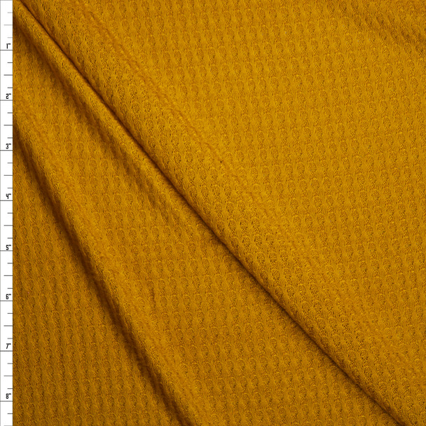 Golden Yellow Soft Waffle Sweater Knit Fabric By The Yard