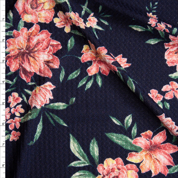 Pink, Green, and Yellow Floral on Navy Soft Waffle Sweater Knit Fabric By The Yard