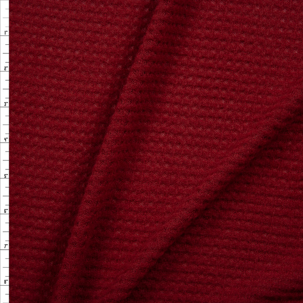 Wine Brushed Soft Waffle Sweater Knit Fabric By The Yard