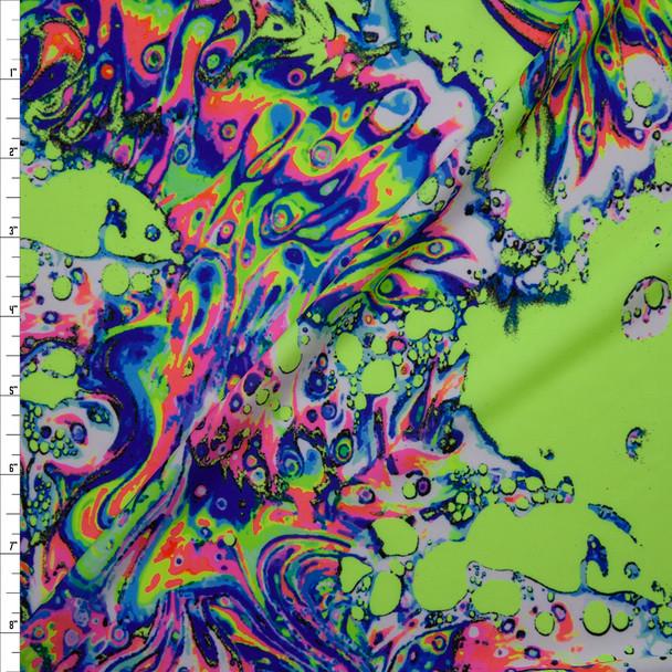 Neon Liquid Swirls on Neon Green Nylon/Spandex Print Fabric By The Yard