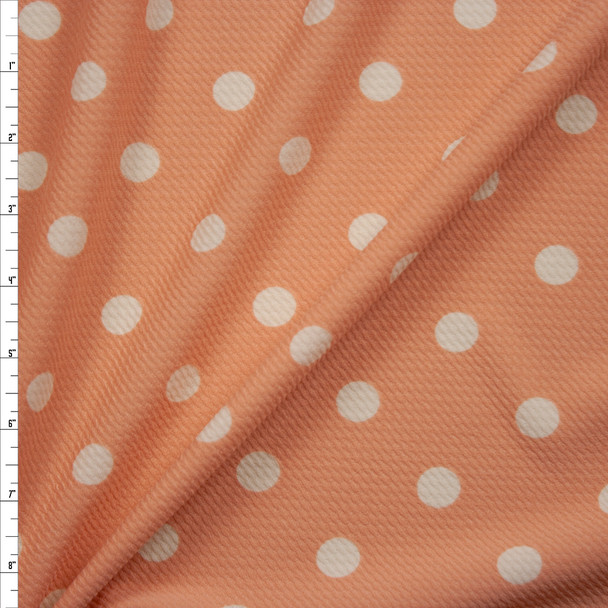Offwhite on Peach Polka Dot Bullet Liverpool Knit Fabric By The Yard